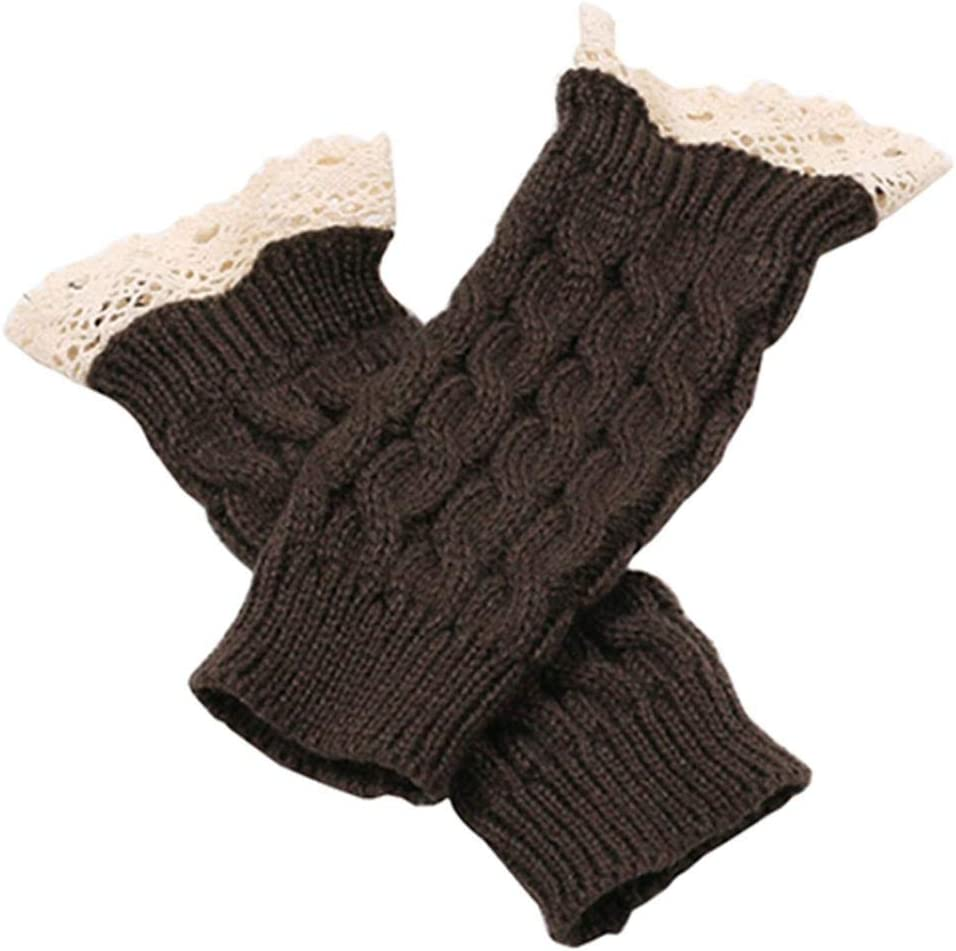 jinqiao Gloves,Winter Women Fashion Lace Trims Fingerless Knitted Mitten Wrist Warmer Gloves