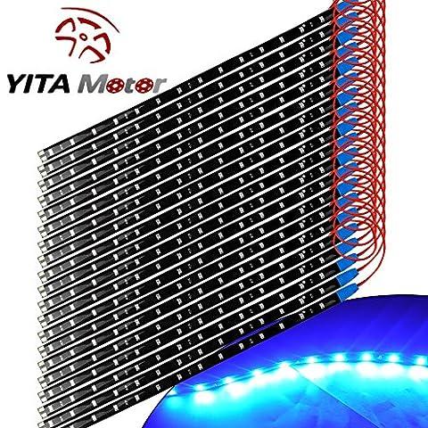 YITAMOTOR 20x 12V Car Motorcycle 30CM 15SMD LED Waterproof Flexible Ultra Blue Light Strip (Ultra Blue)