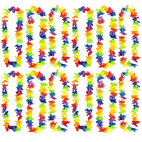 Kicko Rainbow Flower Leis - Hawaiian Luau Leis - 12 Pack - Cool and Fun Colorful Rainbow Flower Garland - Novelty and Gag Toys, Party Favor, Bag Stuffer,, Gift Ideas
