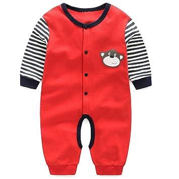 d5a9ac432f205 エルフ ベビー(Fairy Baby)新生児パジャマ 長袖カバーオールロンパース 前開け 66cm 猿レッド