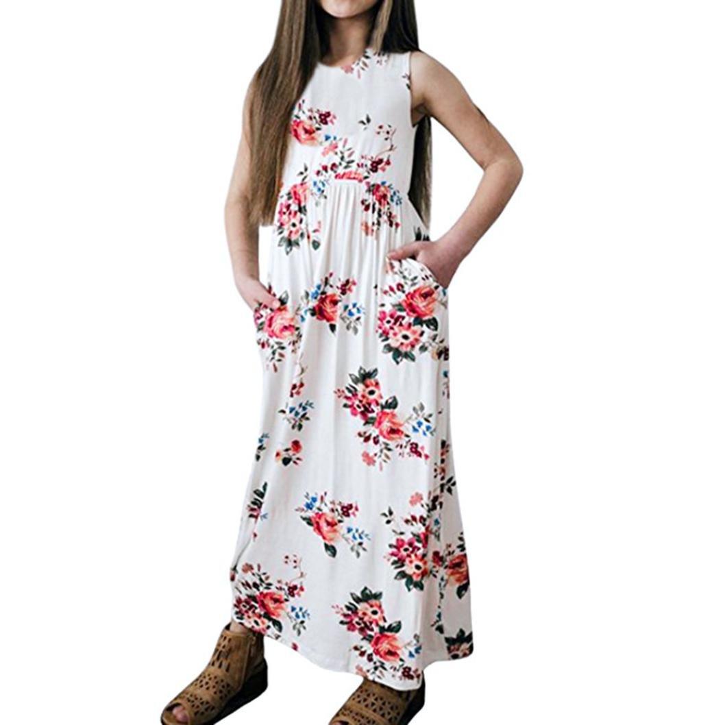 Dress,2018 Baby Girls Flower Print Short/Long Sleeve Princess Dress Long Maxi Sundress (10T, B-White)