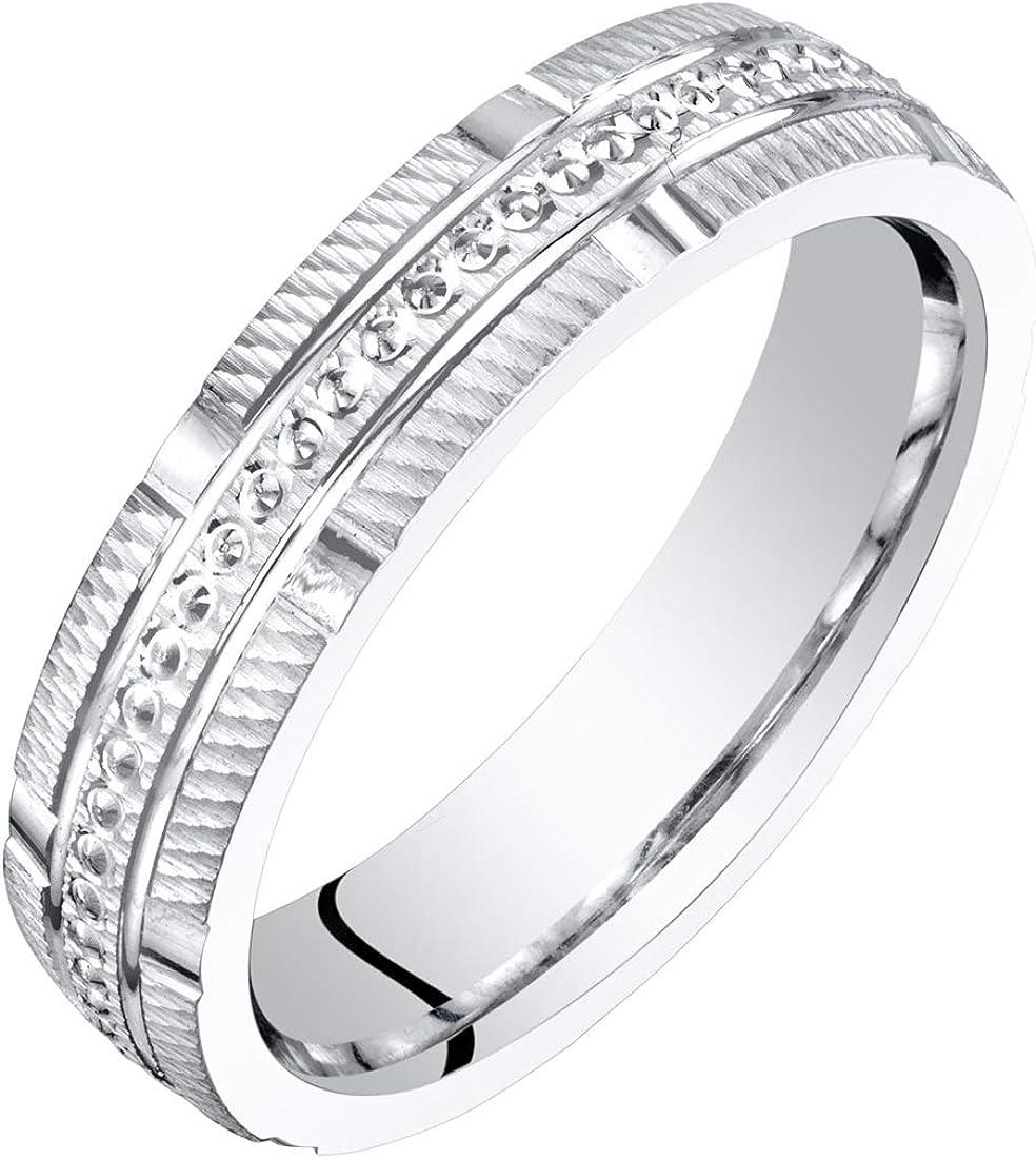 BEST GIFT ANNIVERSARY WEDDING BAND RING 4mm 14CT SOLID WHITE GOLD MEN/'S// WOMEN/'S