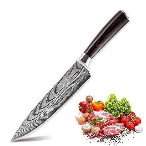 Compra FAMCUTE Cuchillo de chef de 20 cm con mango de madera ...