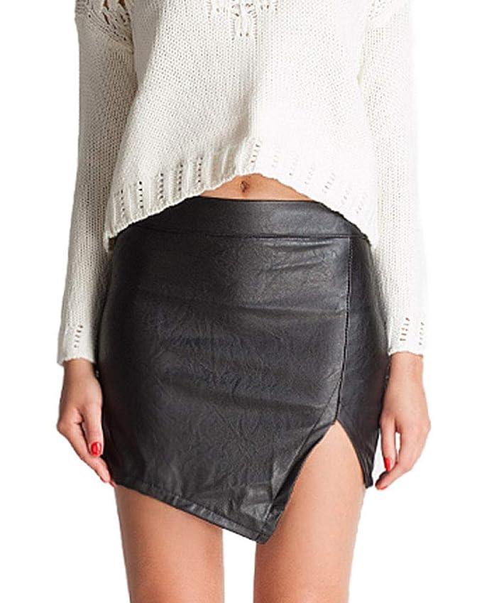 Guiran Mujer Cintura Alta PU Cuero Falda Corta Mini: Amazon.es ...