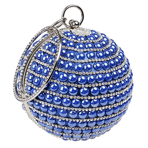 Pearl Purse (Round Shape Women Handbags Bride Purse Pearls Beaded Evening Party Clutches Bag)