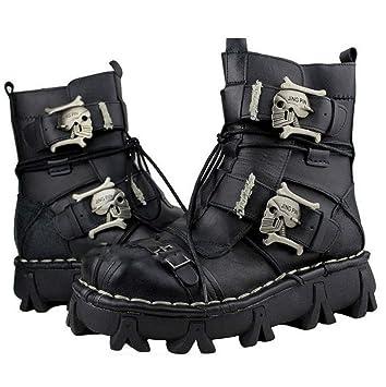 bece7f6f9 VISTANIA Mens Martin Botas Cuero Genuino Impermeable Botas Altas del  ejército gótico cráneo Punk Motocicleta Steampunk Zapatos Martin Western  Cowboy Botas ...