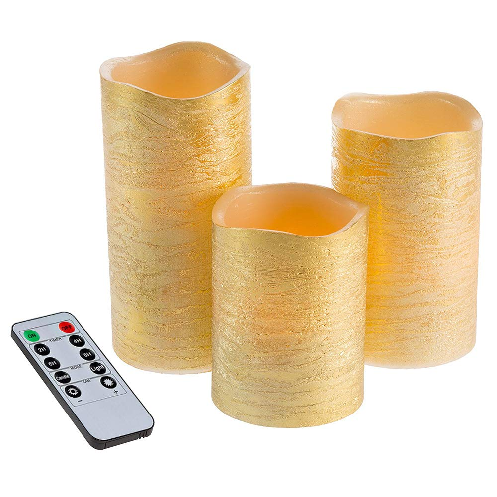 """Flameless Candles, 2/4/6/8 Hours Timer and 10-Key Remote Control Battery Operated LED Textured Flickering Pillar Candles Diameter 3'' Height 4""""5""""6"""" with Warm White LED Set of 3 (Gold Pillar Set of 3)"""