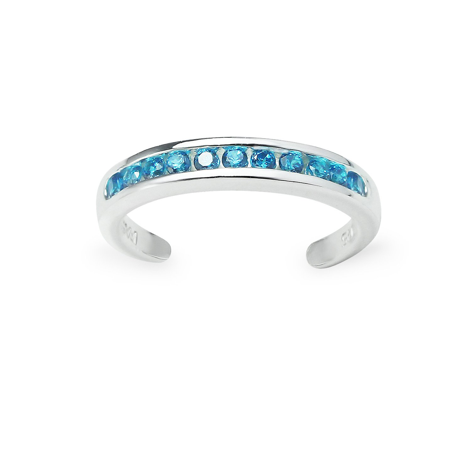 Sterling Silver Channel Light Blue Cubic Zirconia CZ Sparkling Adjustable Toe Ring