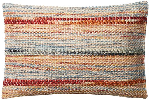 Loloi P0589 Pillow Cover with Poly Fill, 13'' x 21'', Rust/Multi by Loloi