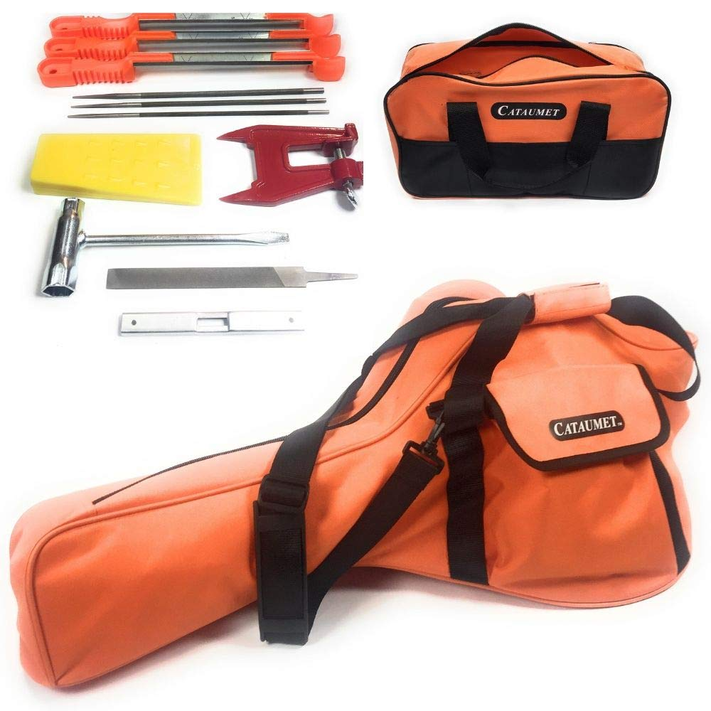 Cataumet Chainsaw Sharpener Kit and Chainsaw Carrying Case Bag Includes 3 Round Files Sizes 5/32'' 3/16'' 7/32'' 3 Guide Handles Stump Vise Felling Wedge Flat File Depth Gauge Multi Wrench Tool Bag by Cataumet