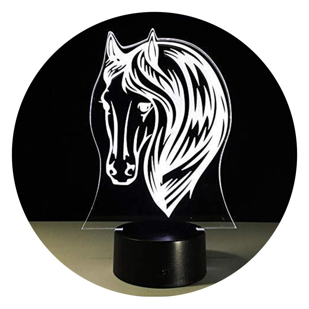 JINXUXIONGDI Visual Stereo Vision 3D Cute Horse Night Light, 7 Kinds of Color Change with LED Acrylic Light Indoor Atmosphere Light Children's Gifts Children's Decoration