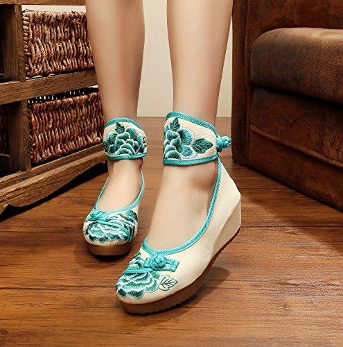 zapatos lino bordados tendón de del estilo WXT étnico manera white zapatos finos 5cm lona femeninos Zapatos aumentados de meters cómodo lenguado tY1xaY5qOW