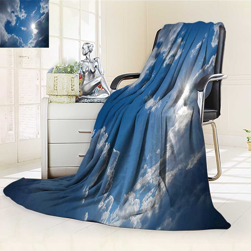 YOYI-HOME Weave Pattern Extra Long Duplex Printed Blanket Clear Weather Sky Sun On Sky with Clouds Solar of Clean Energy Power Artwork Gray Blue Custom Design Cozy Flannel Blanket /W86.5 x H59