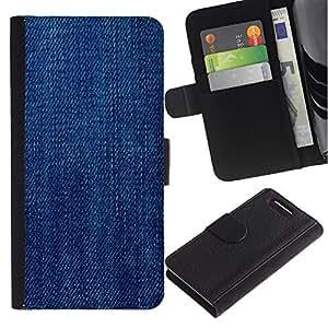 UberTech / Sony Xperia Z1 Compact D5503 / Jeans Blue Pattern Texture Fabric / Cuero PU Delgado caso Billetera cubierta Shell Armor Funda Case Cover Wallet Credit Card