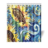 Vincent Van Gogh Painting Sunflower Waterproof Bathroom decor Fabric Shower Curtain Polyester Fabric 66 x 72 inches