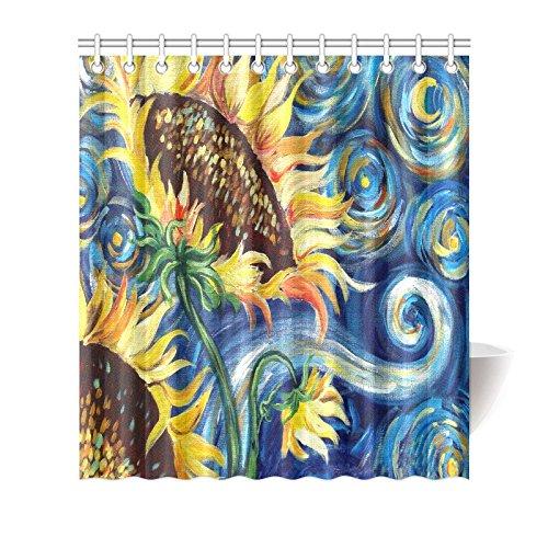 Vincent Van Gogh Painting Sunflower Waterproof Bathroom decor Fabric Shower Curtain Polyester Fabric 66 x 72 ()