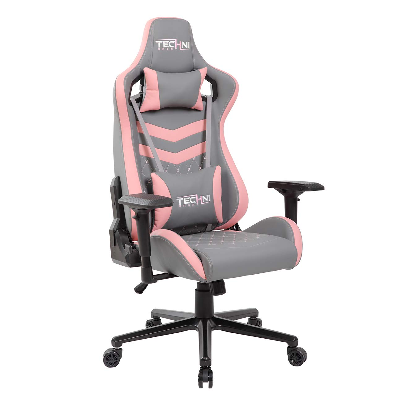TECHNI SPORT Gaming Chair Collection - Office Chair - Gaming Computer Chair - Recliner Chair - Back Support - Ergonomic & Adjustable - Lumbar Support Leather Gaming Chair (TS83, Grey & Pink) by Techni Sport