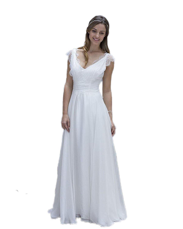Madedress Romantisch Spitze Strand Hochzeitskleider V-Ausschnitt ...