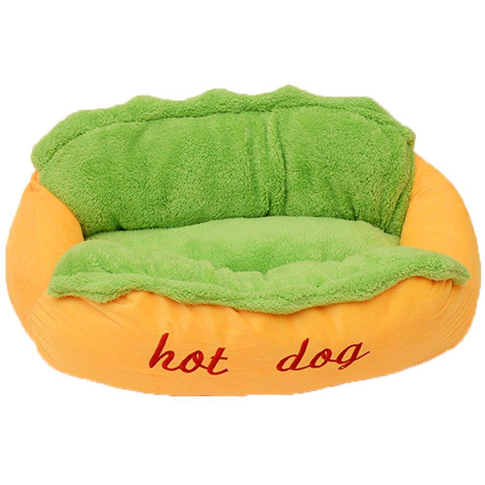 Hot Dog Pet Bed Soft Cushion Dog House Washable Puppy Kitten Sleeping Sofa