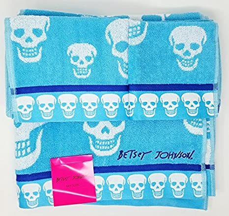 Betsey Johnson baño lavado y toalla de mano con diseño de calavera - 3 juego de - Aqua Azul: Amazon.es: Hogar