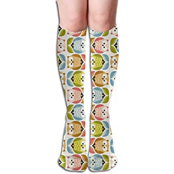 zengjiansm Calcetines Altos Unisex Cute Surprise Owl Sports Long Running Socks Knee High Comfortable Sock