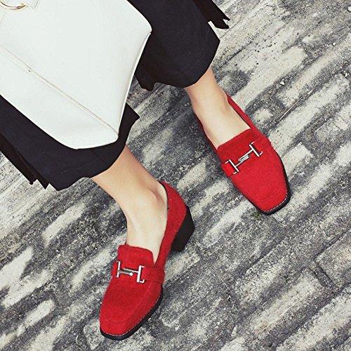 COOLCEPT Zapato Mujer Moda Hebilla Belt Chunky Heel Tacon Bajo Bombas Zapatos Brogues Flocking Zapato Rojo