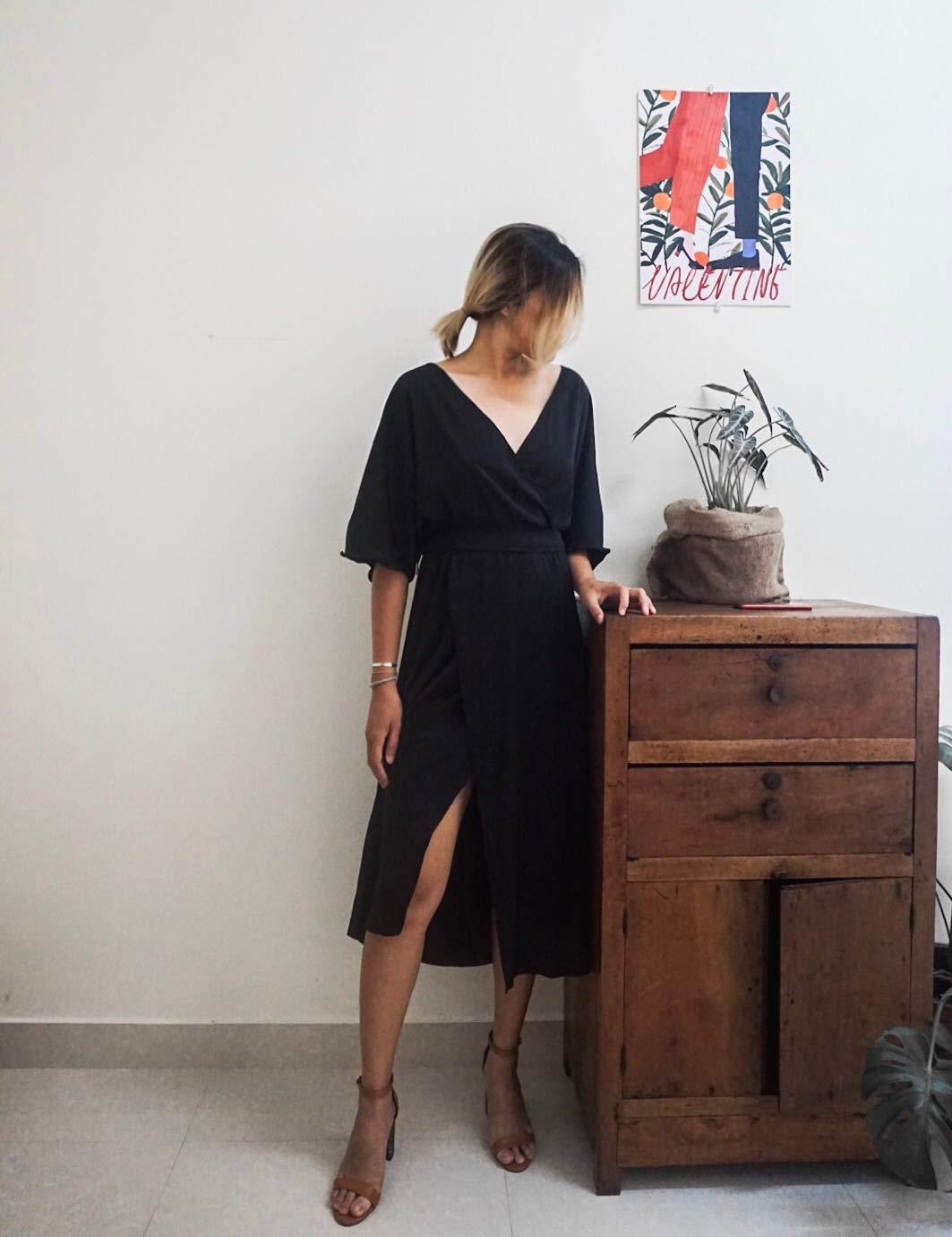Simple Sleeves Dress - Little Black Dress - Simple Silk Dress - Travel Dress