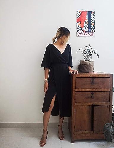 791a788dee Amazon.com  Simple Sleeves Dress - Little Black Dress - Simple Silk Dress - Travel  Dress  Handmade