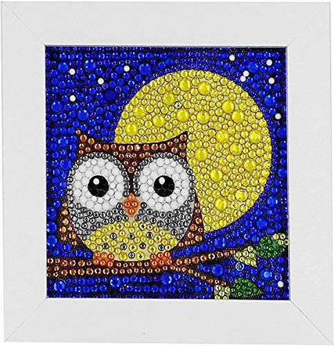 Easy 5D Diamond Painting Kit for Kids, with Wooden Frame, Full Diamond Painting Digital Kit (owl)