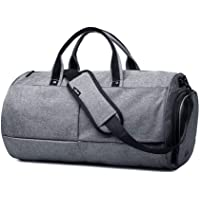 Gym Duffel Bags, 22L Canvas Travel Luggage Bag, Waterproof Gym Bag with Shoes Compartment for Women, Men