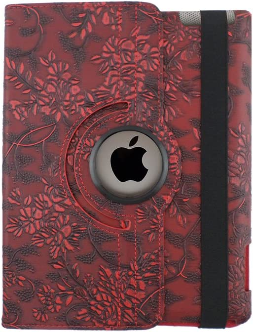 TCD - Apple iPad 2 3 4, 2nd 3rd 4th Generation Floral Embossed Flower Rotating Leather Kickstand Case Cover with Auto Wake and Sleep Feature - RED