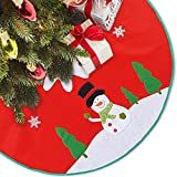 LimBridge 48'' Rustic Red Felt Christmas Tree Skirt with Stitched Snowman Snowflake Xmas Holiday Decoration