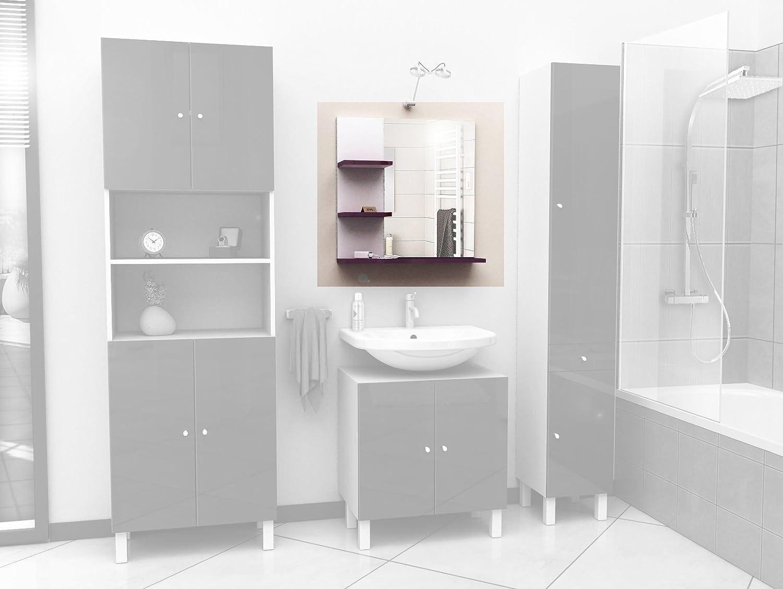Berlioz Creations MMAUB High-Gloss Bathroom Mirror Shelf, Aubergine ...