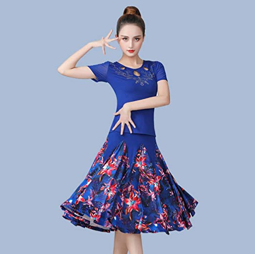 SMACO Baile Flamenco para Mujer de Falda para Las Mujeres de Las Lentejuelas España Vals Tango Baile Faldas Medio,Azul: Amazon.es: Jardín
