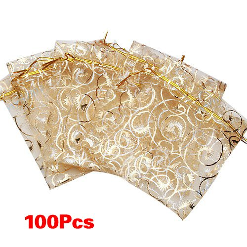 100pcs Champagne Eyelash Organza Drawstring Pouches Jewelry Party Wedding Favor Gift Bags 3.5
