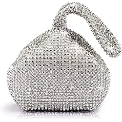 ELEOPTION Women Ladies' Evening Clutch Wedding Purse Handbag for Party Prom (Silver)