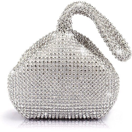 ele ELEOPTION Women Clutch Purse Women's Evening Clutch Triangle Design Full Rhinestones Wedding Purse Handbag for Party Prom Wedding Purse (Rhinestones Silver)