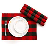 Cotton Table Cloth, Outdoor Decor, Dinner Parties, Halloween Tablecloth, Plaid Table Runner (Place Mat (13 x 18…