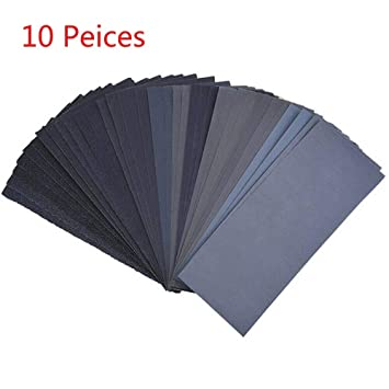 Sandpaper 10PCS 9 x 3.6 Wood Work 100 Grit for Polishing The Craft Automotive Applications SENRISE Wet and Dry Waterproof Sandpaper 60 to 7000 Grit