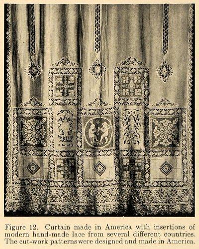 1919 Print American Curtain Handmade Lace Insert Cloth – Original Halftone Print