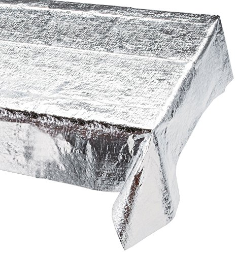 Creative Converting Metallic Silver Metallic Tablecover 54 x 108 Solid - 38320