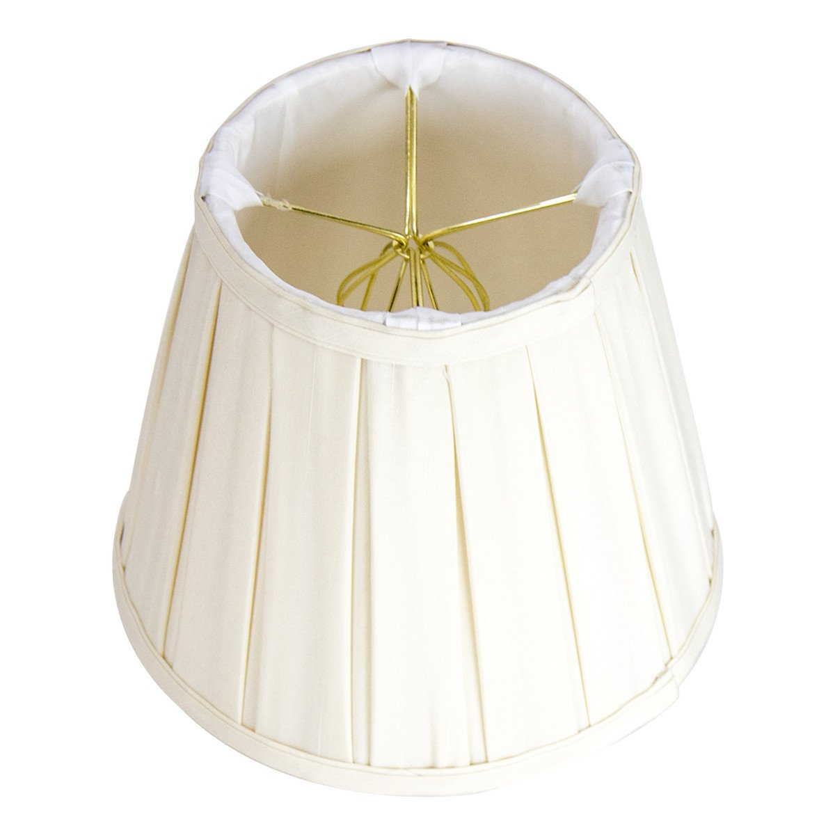 5x8x7 Empire Box Pleat Eggshell Lampshade with Shantung fabric and White Liner
