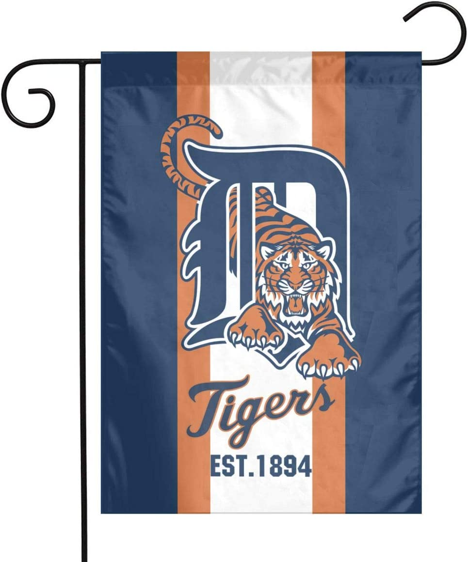 Waynejunior Detroit Garden Flag Baseball Yard Flag 12 x 18 Inches Oxford Fabric Double-Sided Printing Indoor Banner