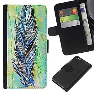 A-type (Feather Indian Pattern Watercolor) Colorida Impresión Funda Cuero Monedero Caja Bolsa Cubierta Caja Piel Card Slots Para Apple iPhone 5C