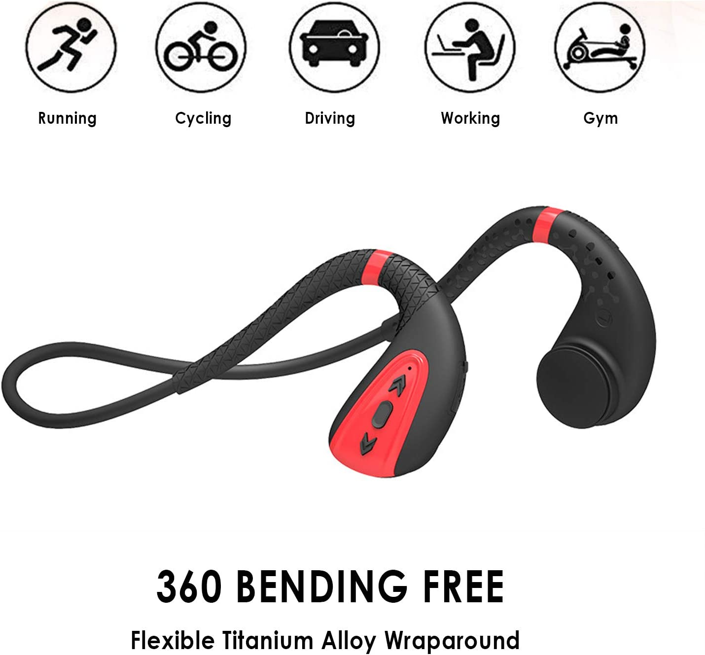 vapeonly Swimming MP3 Player Bluetooth 5.0 Bone Conduction Bluetooth Headset Headphone 8G MP3 Player Waterproof Wireless Sport Headset (Black Red)