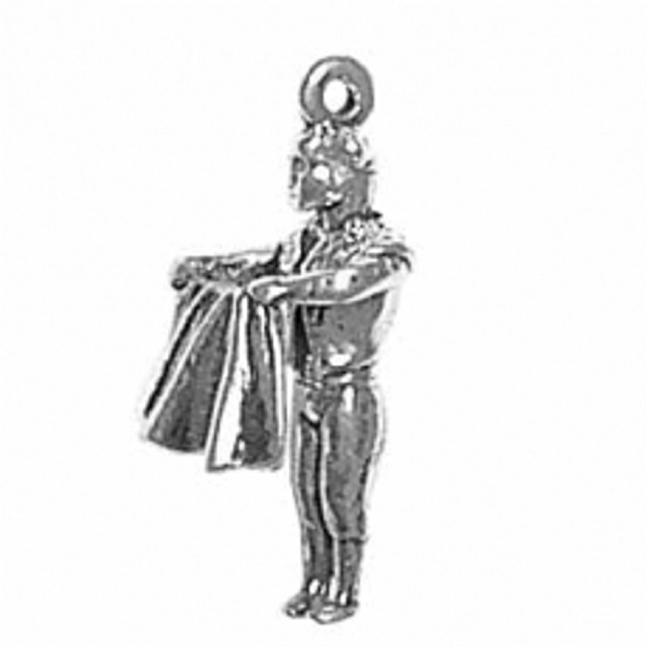 Sterling Silver Girls .8mm Box Chain Spanish Matador Bullfighter Cape In Front Pendant Necklace