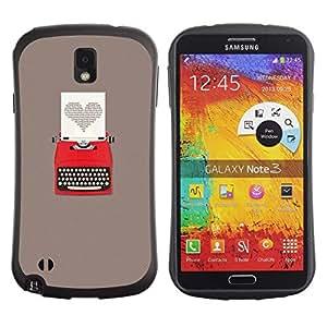 """Pulsar iFace Series Tpu silicona Carcasa Funda Case para Samsung Note 3 , Escritor gris del corazón escritura Amor"""""""