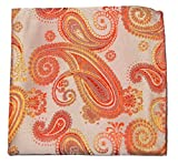 Mens Pocket Square Handkerchief 100% Silk . Coral Paisley