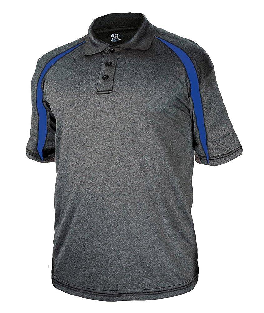 3347 Badger mens Fusion Three Button Polyester Polo Shirt