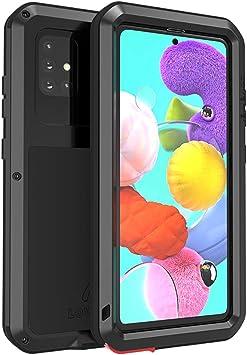 FONREST Tout Le Corps Coque pour Samsung Galaxy A51 6,5-Pouces, Love Mei Antichoc Hybride Aluminium Métal Armure Antipoussière Housses avec Verre ...